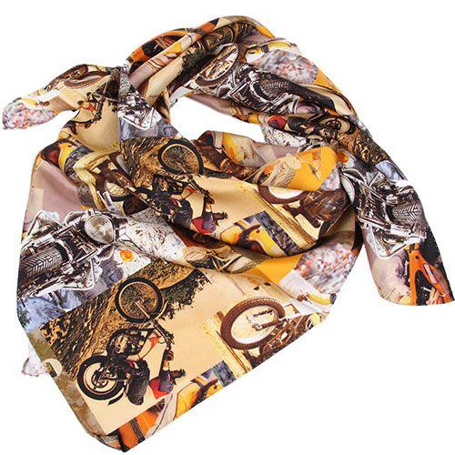 Шелковый платок Versace с изображением мотоциклистов, фото