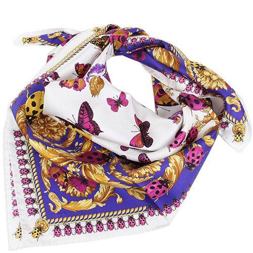 Платок Versace фиолетового цвета с разноцветными бабочками, фото