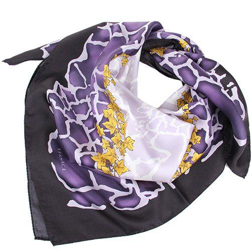 Шелковый платок Versace с фиолетовым рисунком, фото