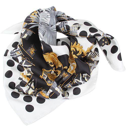 Платок Versace шелковый с брендовым рисунком, фото