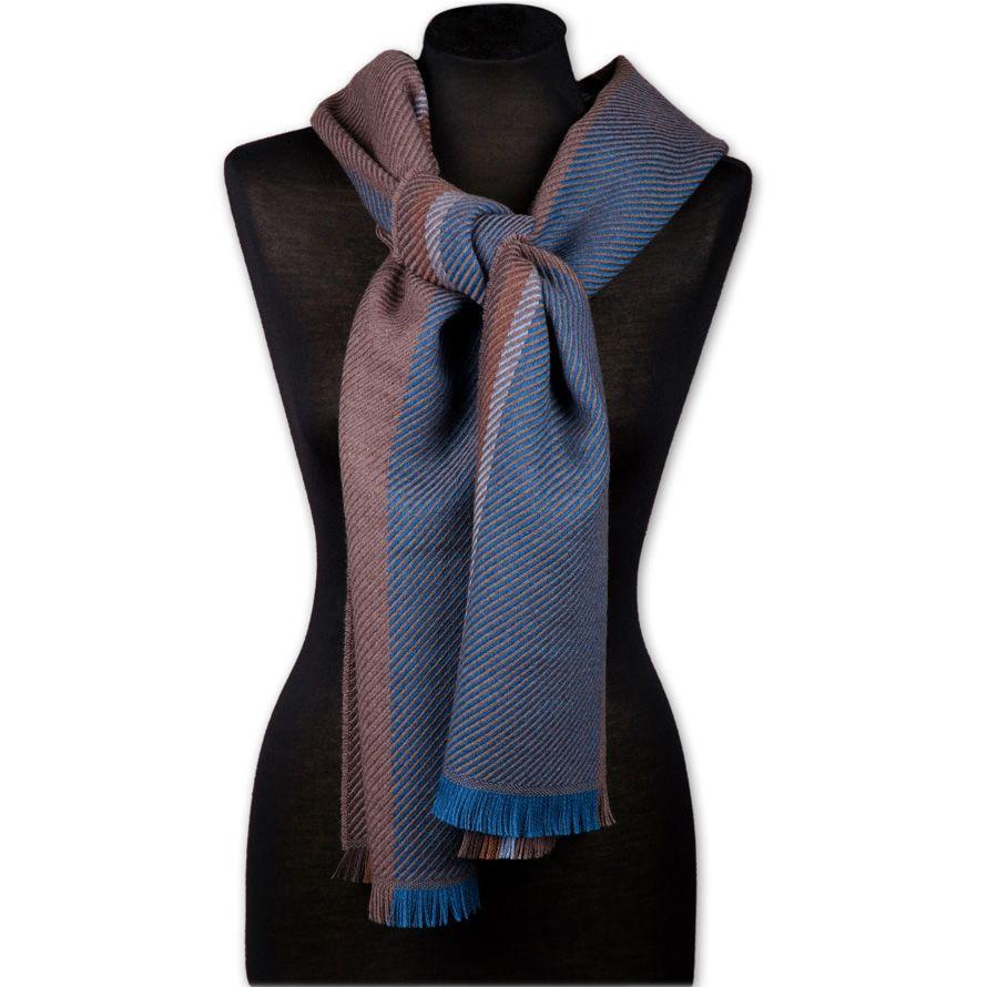 Шерстяной шарф Maalbi синий с бордовым в диагональную полоску