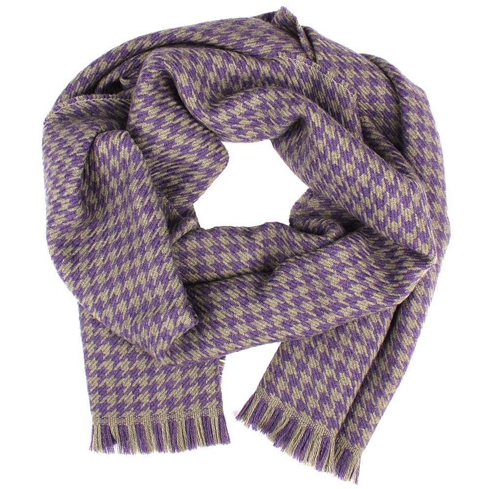 Шерстяной бежевый шарф Maalbi с фиолетовым узором