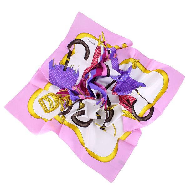 Яркий модный розовый шелковый платок с изображением зонтиков