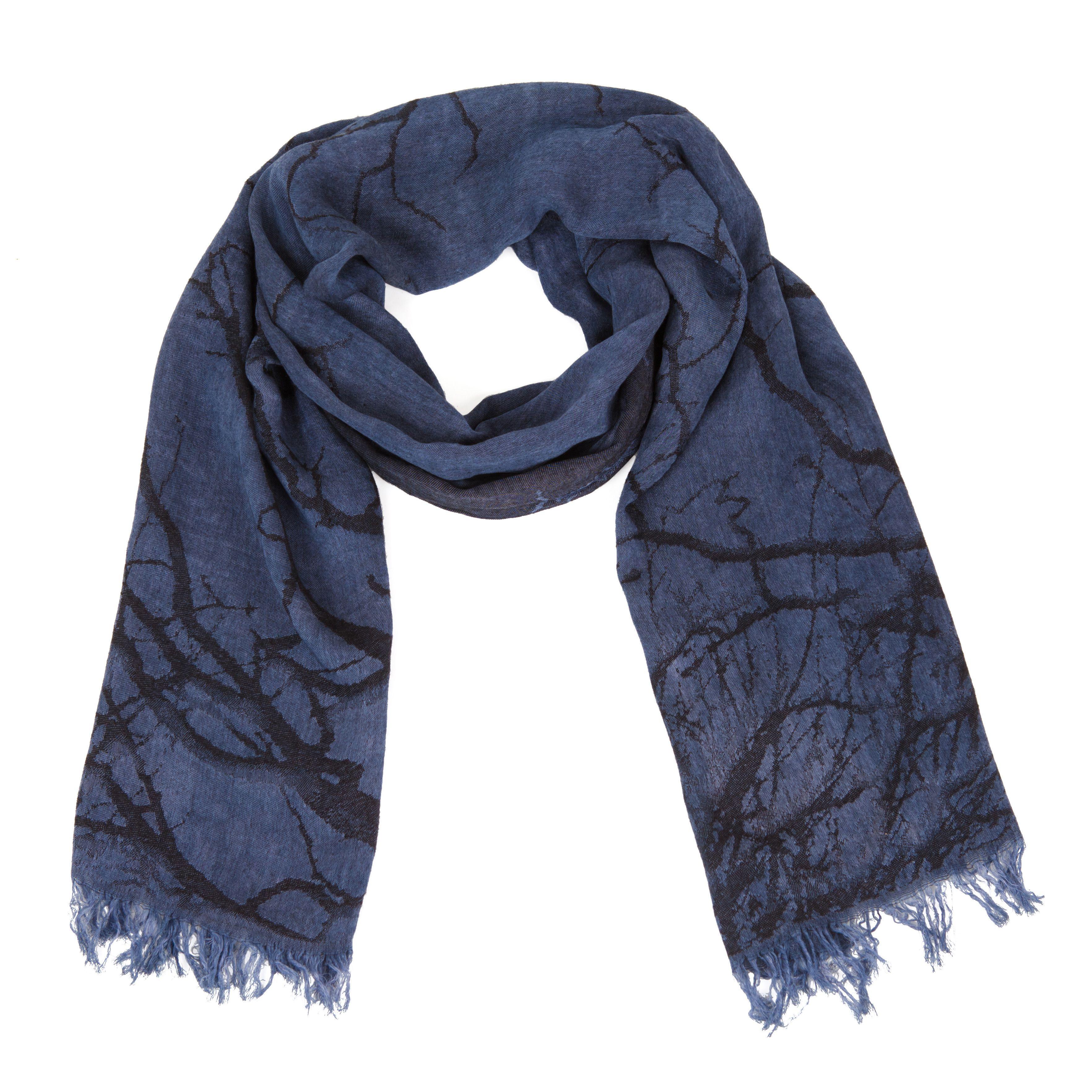 Шарф Jack Bag темно-синего цвета с черным абстрактным принтом