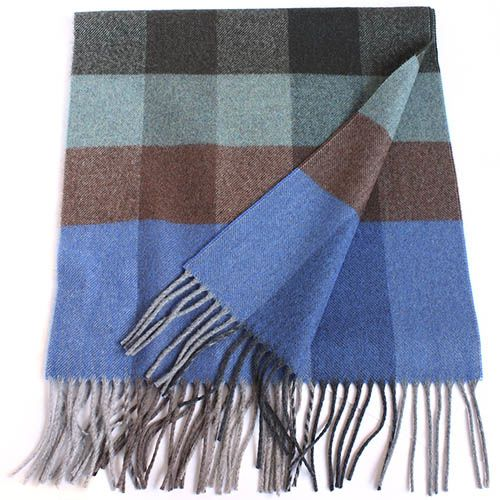 Шерстяной клетчатый шарф Maalbi с длинной бахромой