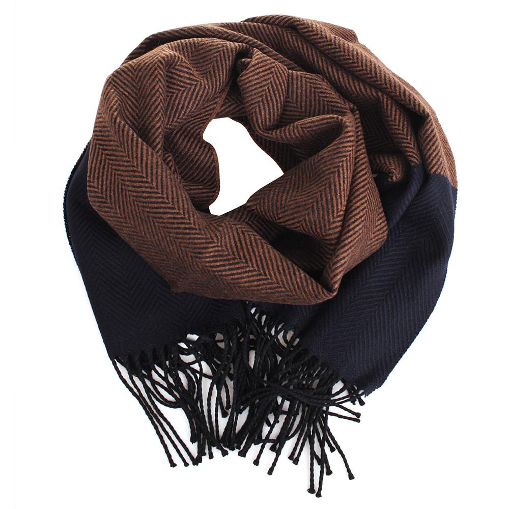 Шерстяной шарф Maalbi синий с коричневым