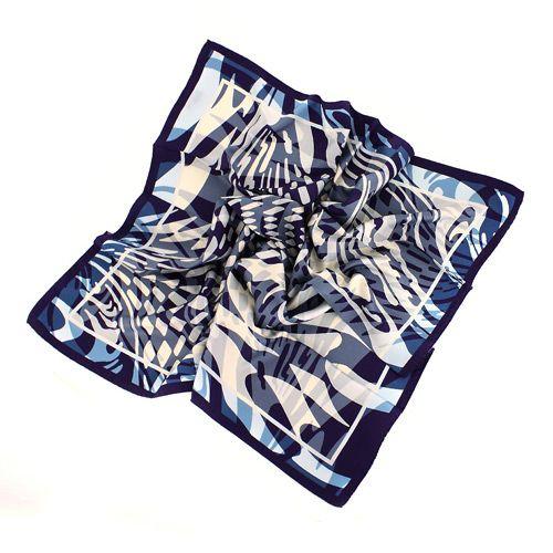 Шикарный шелковый итальянский платок в холодных оттенках синего