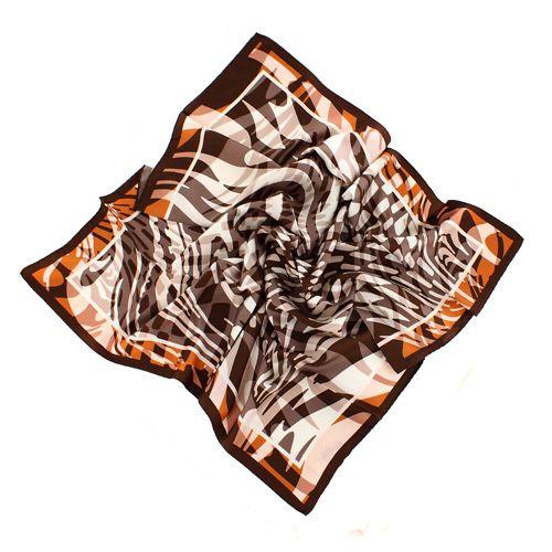 Шикарный шелковый итальянский платок в теплых оттенках мокка