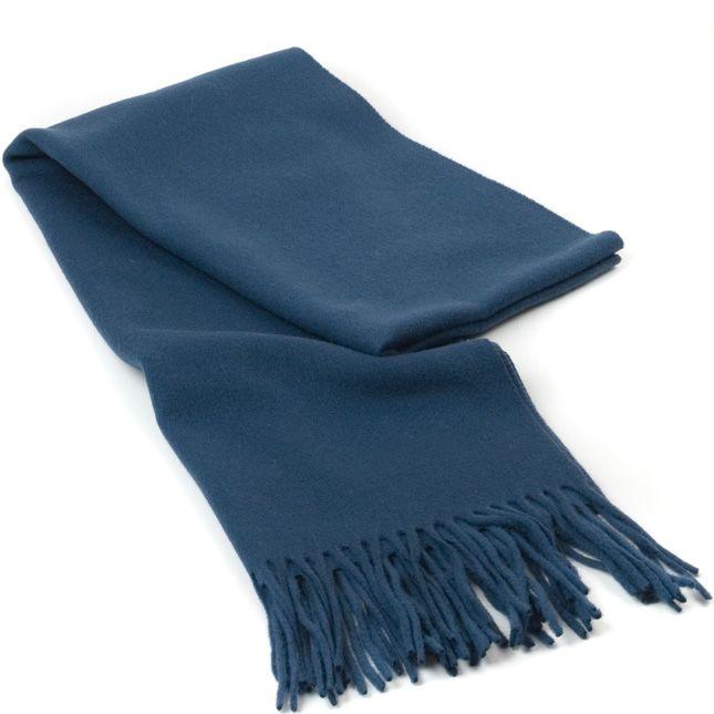 Шерстяной тонкий шарф Maalbi цвета синий джинс с бахромой