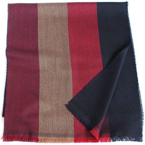 Полосатый шерстяной шарф Maalbi кораллово-красный с синим