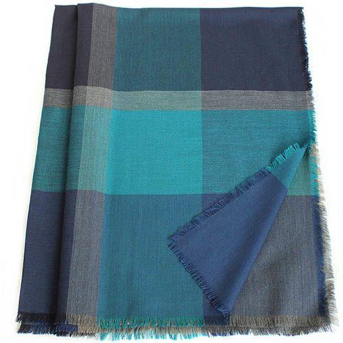 Шерстяная шаль Maalbi с пересекающимися бирюзовыми и серыми полосками