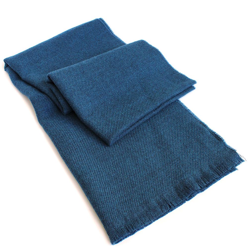 Синий однотонный палантин Maalbi из шерсти
