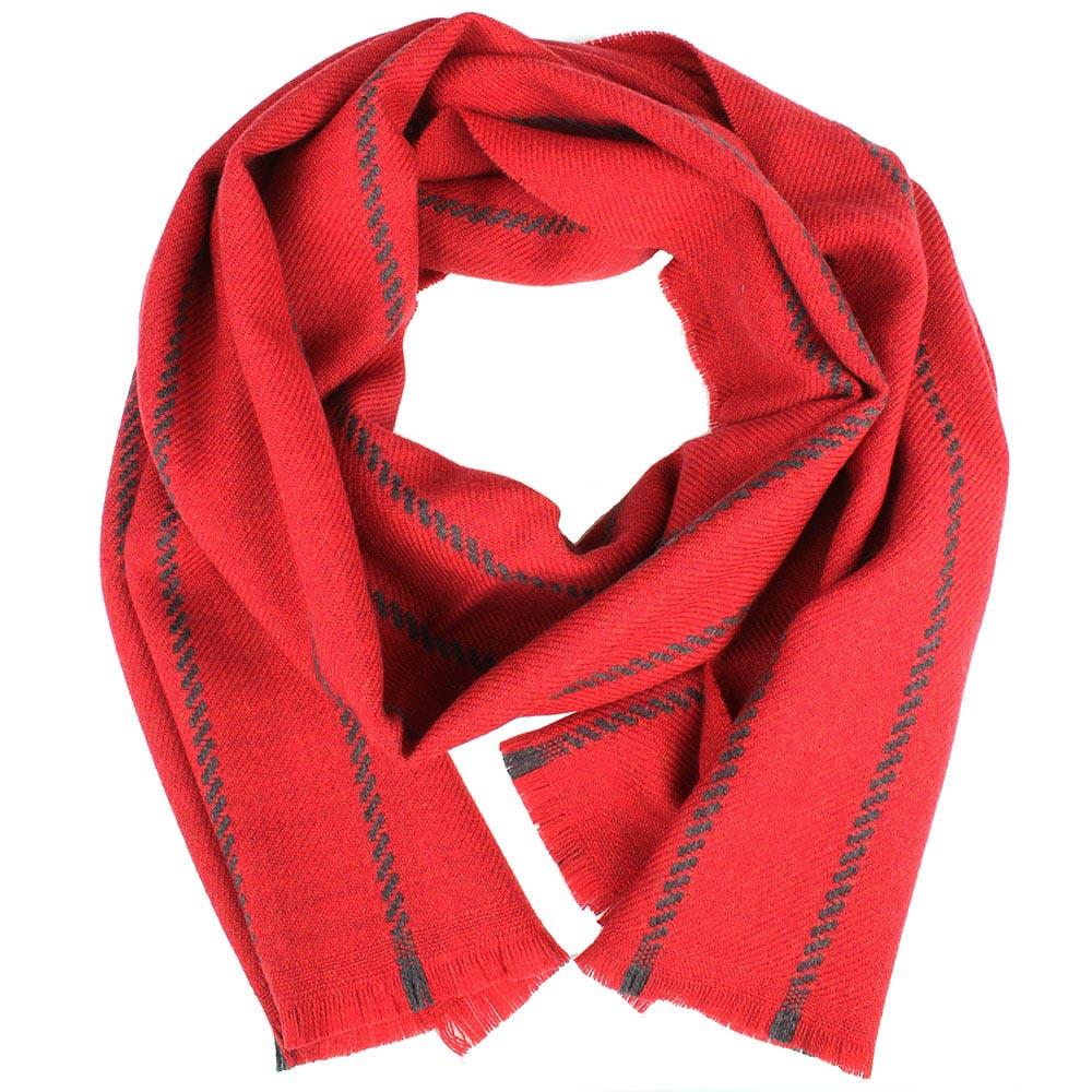 Красный теплый шарф Maalbi в полоску из шерсти