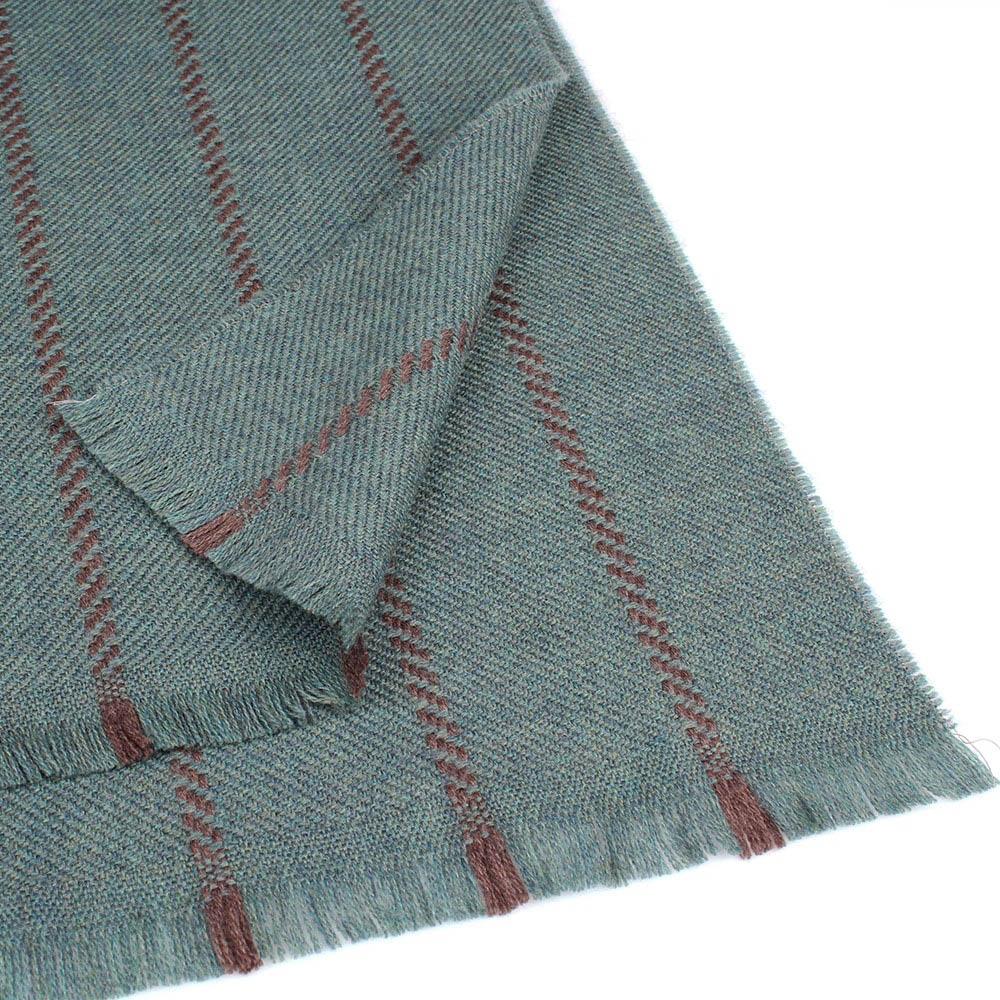 Зеленый теплый шарф Maalbi в полоску из шерсти