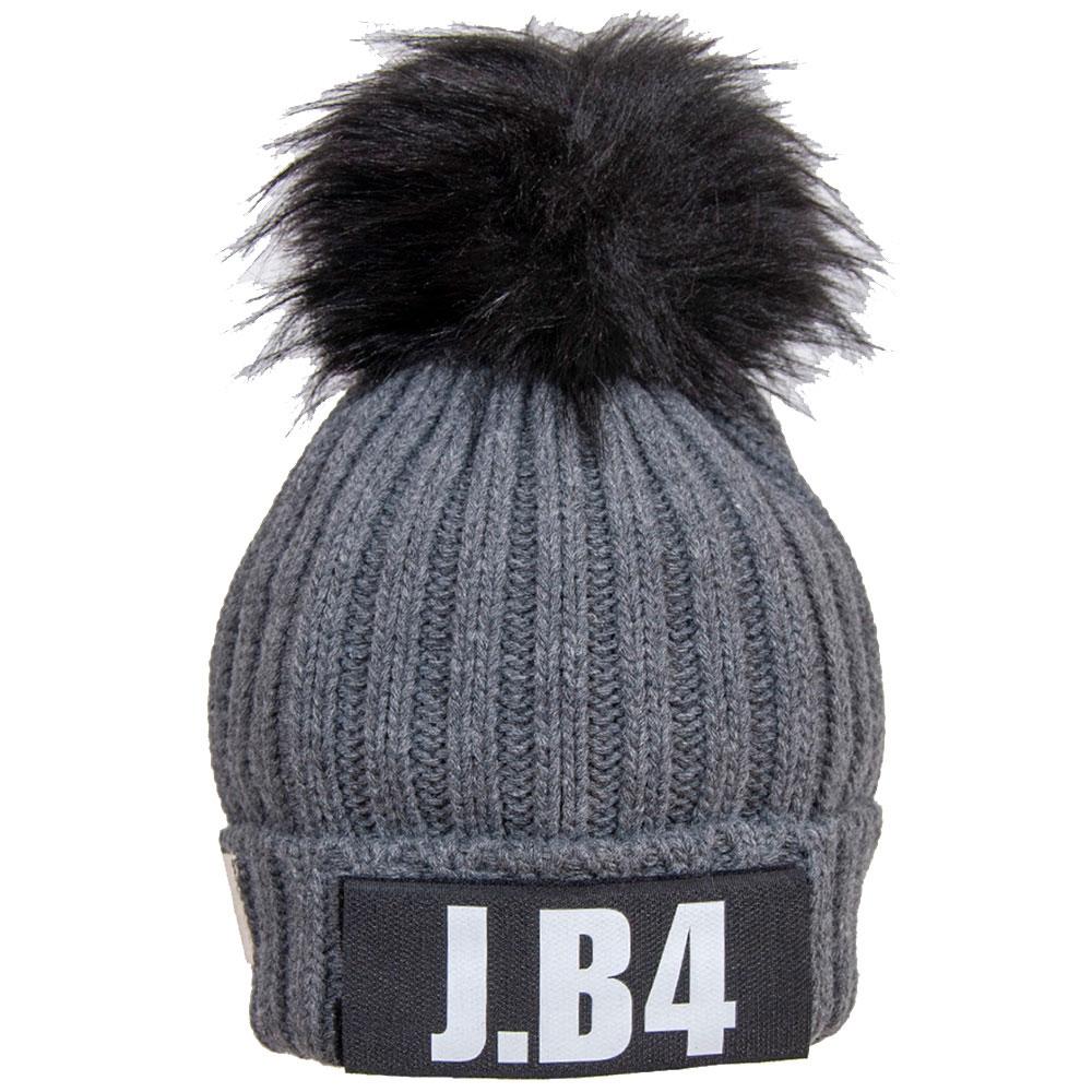 Серая вязаная шапка J.B4 Just Before с помпоном