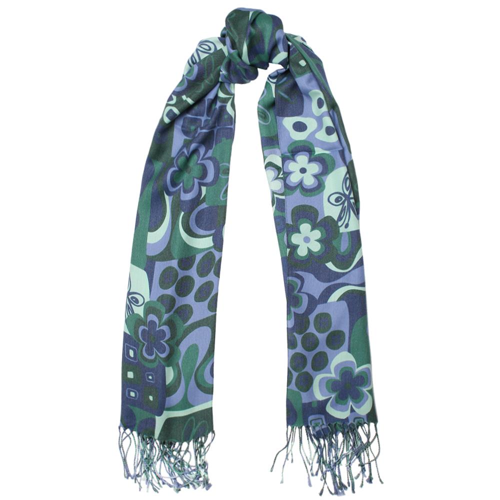 Зеленый палантин Fattorseta с цветочным принтом