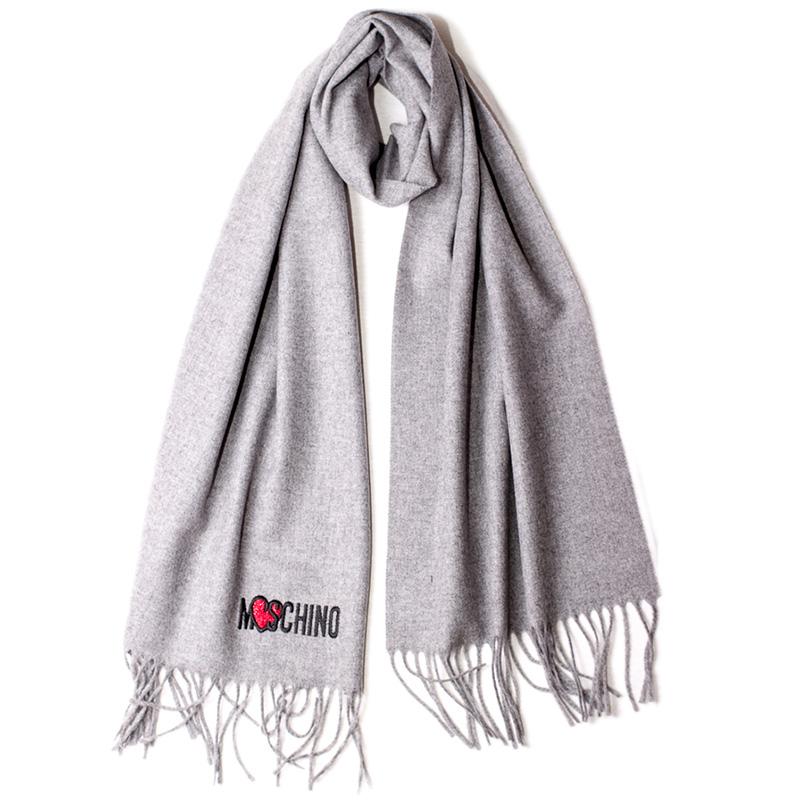 Шерстяной шарф Moschino однотонный