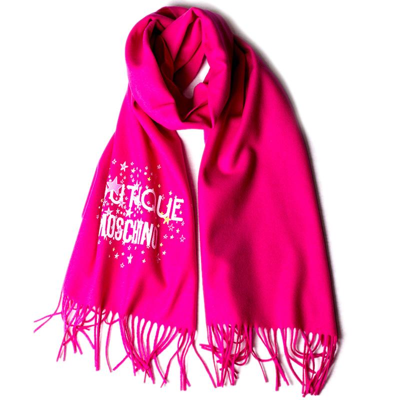 Женский шарф Boutique Moschino в розовом цвете с бахромой