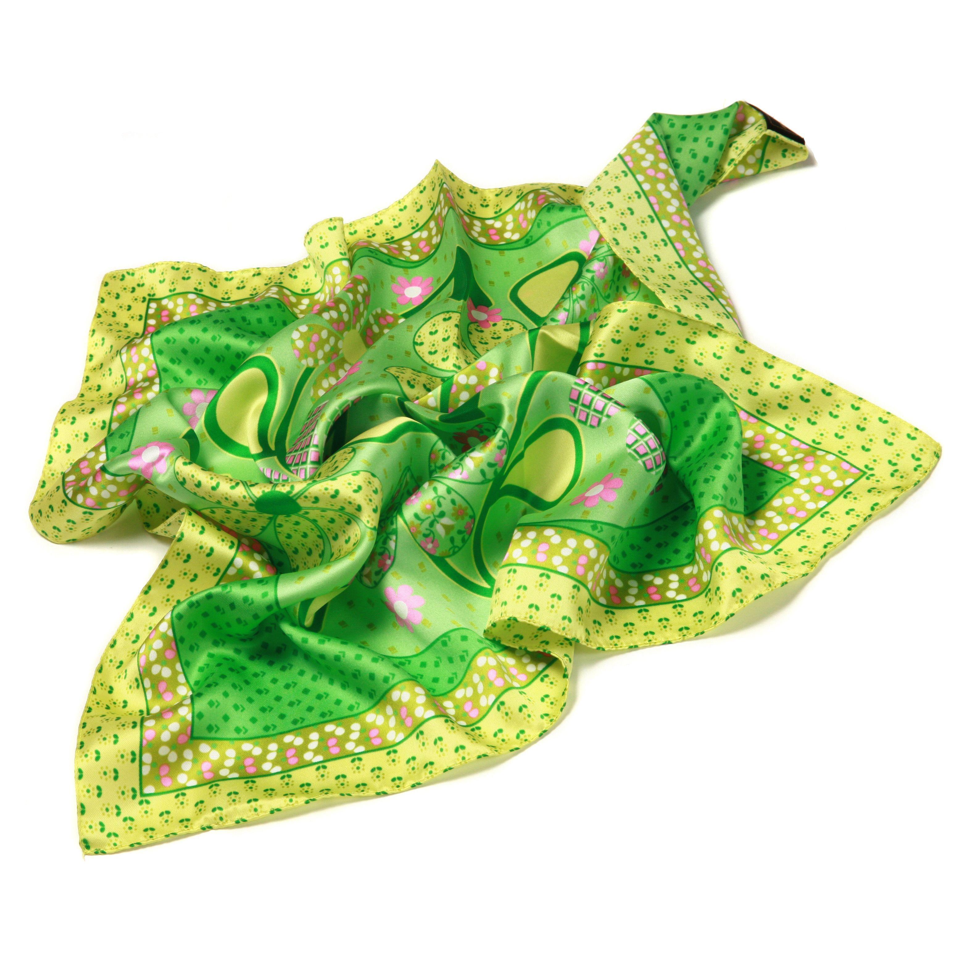 Шейный платок Fattorseta Солнечные цветы в теплых оттенках зеленого