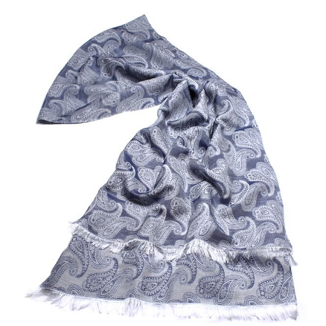 Женский шарф Fattorseta серо-синего цвета с турецкими огурцами