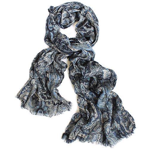 Шарф-плиссе Maalbi из в черно-синих оттенках из модала