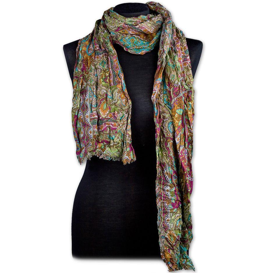 Итальянский шарф-плиссе Maalbi модал в терракотовых, оливковых и баклажановых оттенках