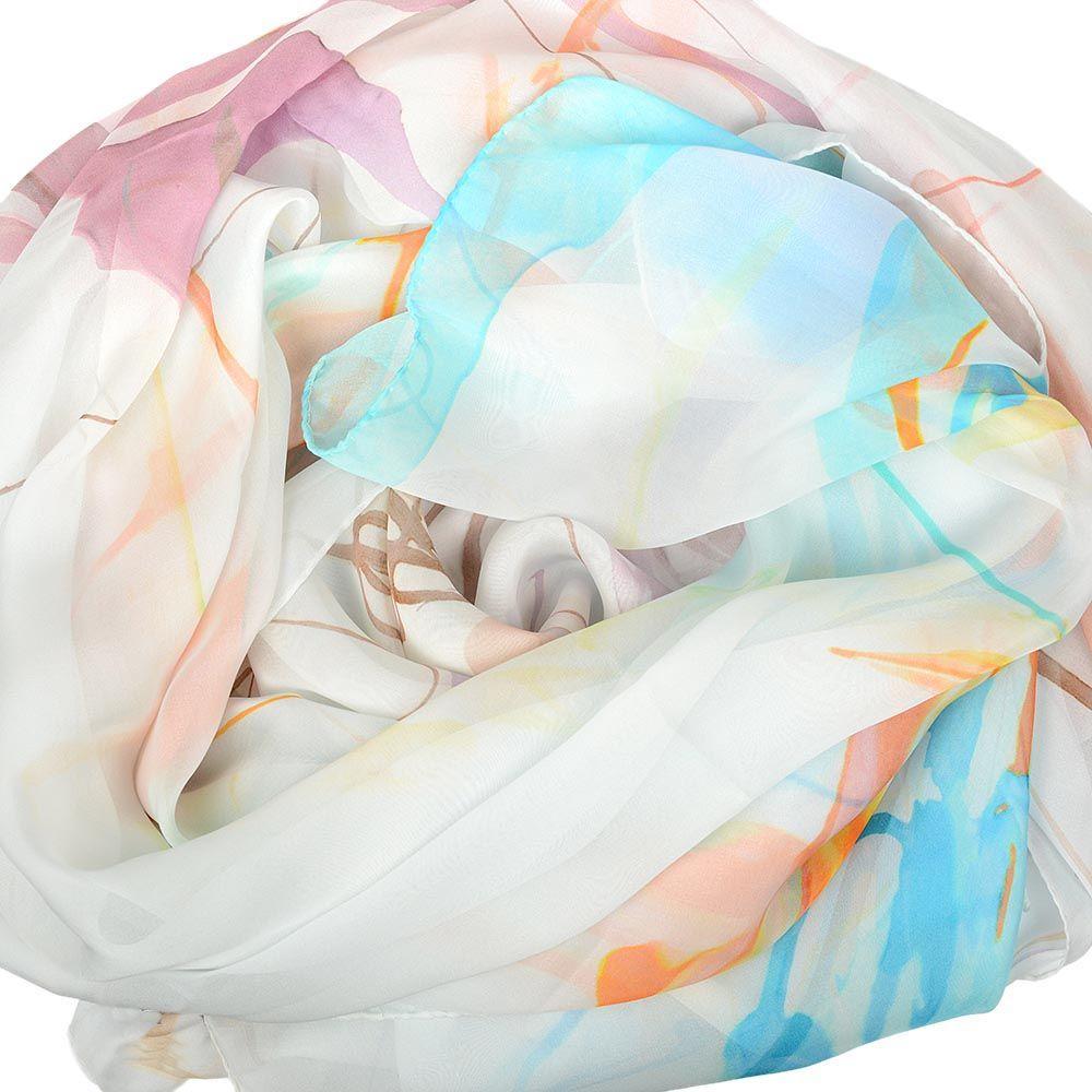 Шелковый платок Escada Sport белый с бирюзовым и оранжевым
