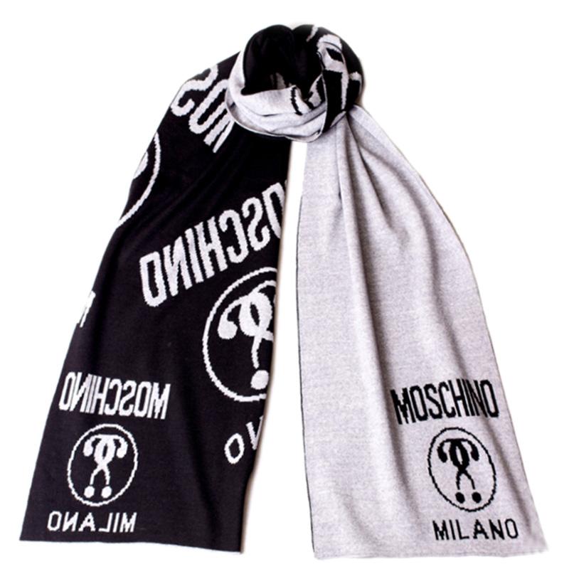 Двухцветный шарф Moschino черно-серой расцветки