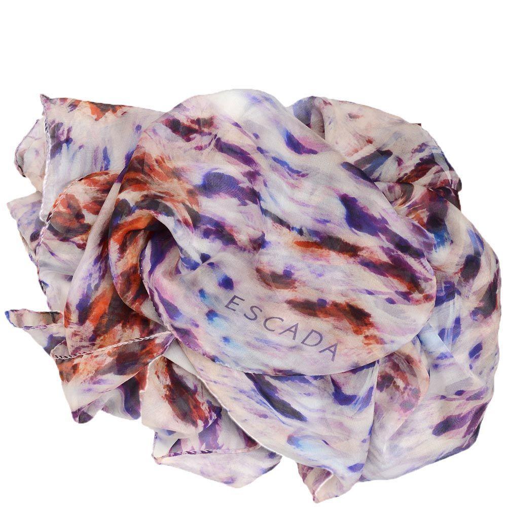 Шелковый шарф Escada с коричнево-пурпурным принтом