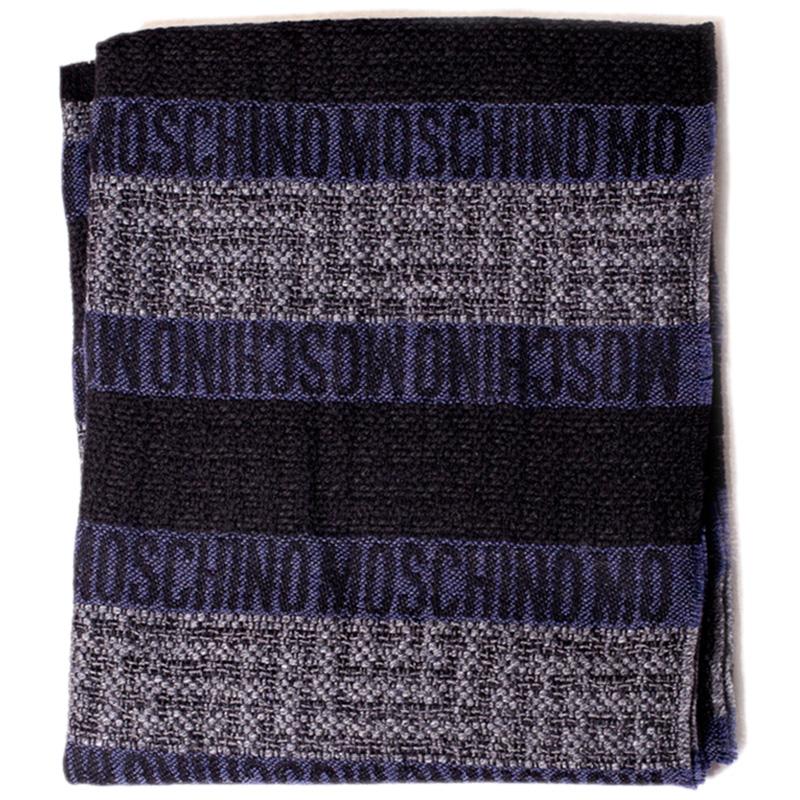 Трехцветный шарф Moschino с брендированием