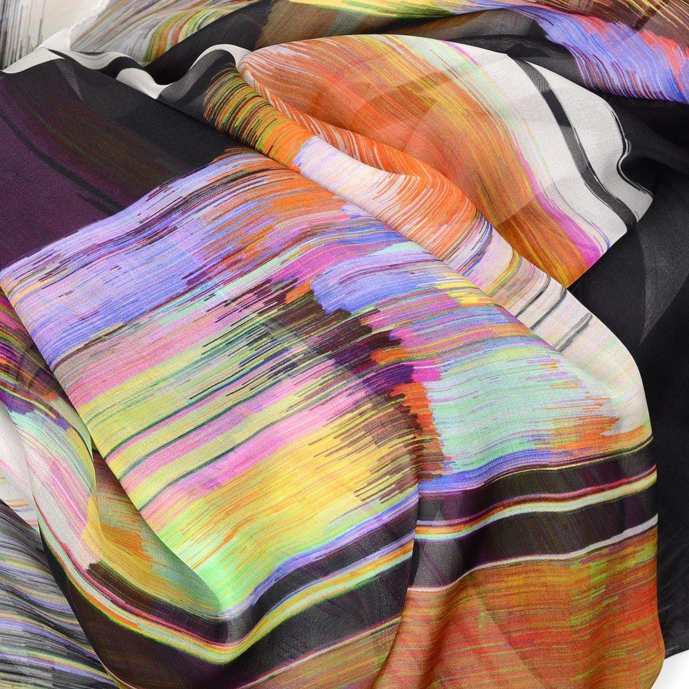 Легкий шелковый шарф Escada с цветным ярким принтом
