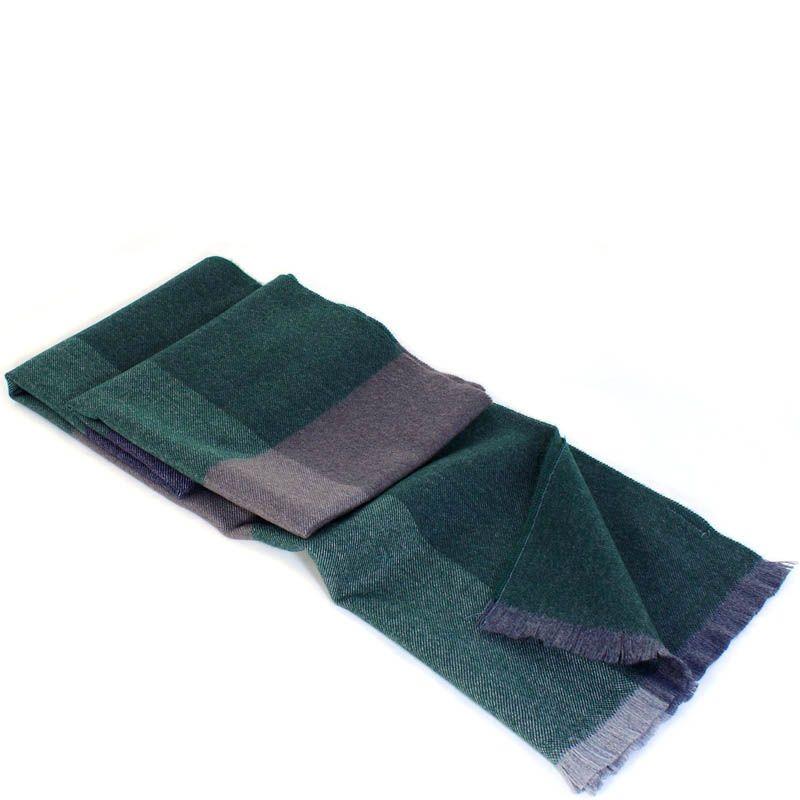 Шерстяной шарф Maalbi в крупную зеленую и серую клетку