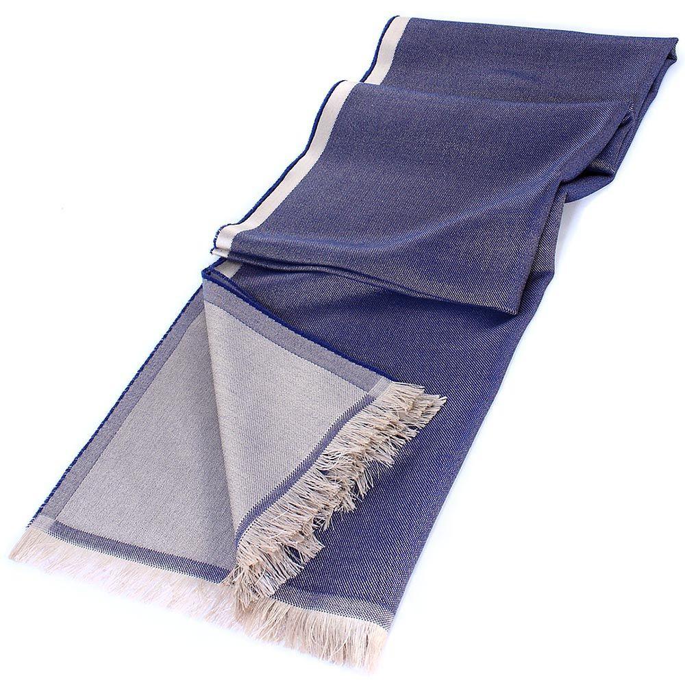 Палантин Maalbi из нитей синего и бежевого цвета