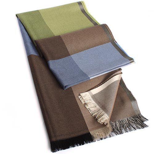 Палантин Maalbi из шерсти и шелка лаймово-коричнево-голубой