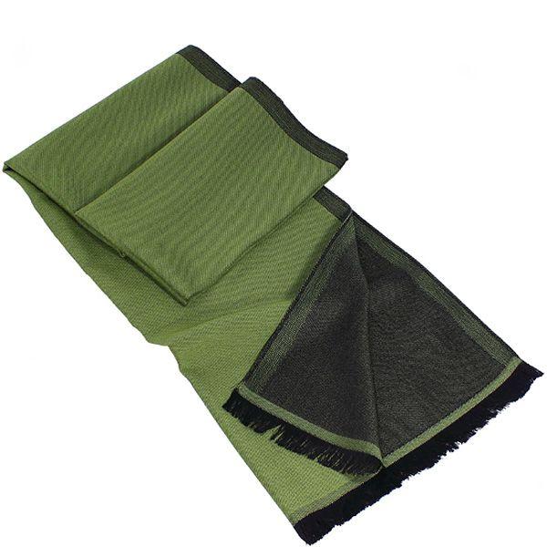 Теплый итальянский шарф Maalbi из шерсти и шелка двусторонний оливково-зеленый с черным