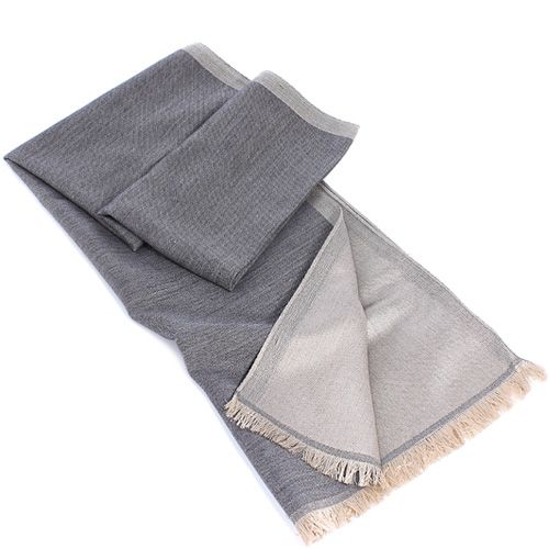 Теплый итальянский шарф Maalbi из шерсти и шелка двусторонний в светлых оттенках серого