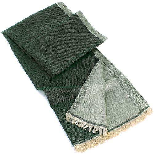 Теплый итальянский шарф Maalbi из шерсти и шелка серо-зеленый двусторонний