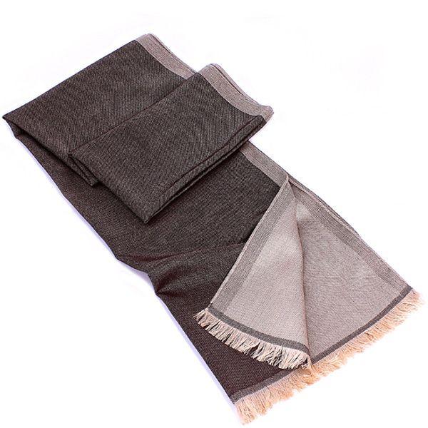 Теплый шарф Maalbi из шерсти и шелка двусторонний коричневый с серо-бежевым