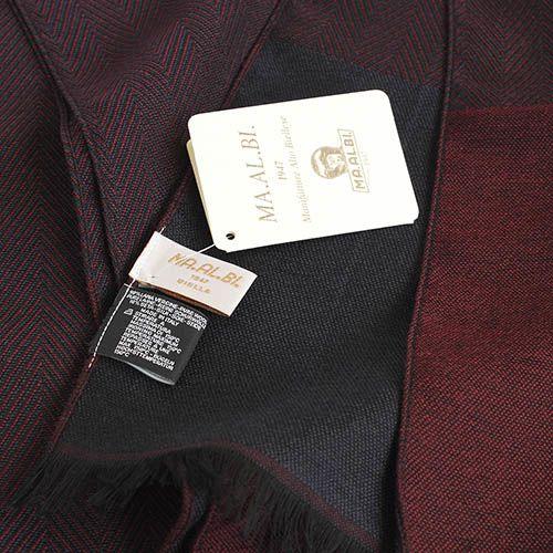 Шарф Maalbi из шерсти и шелка бордового цвета с коричневой окантовкой