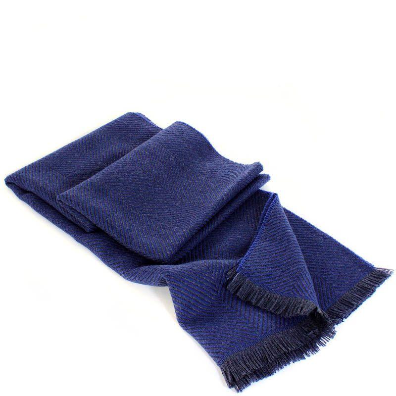 Шерстяной шарф Maalbi синего цвета с плетением ёлочкой