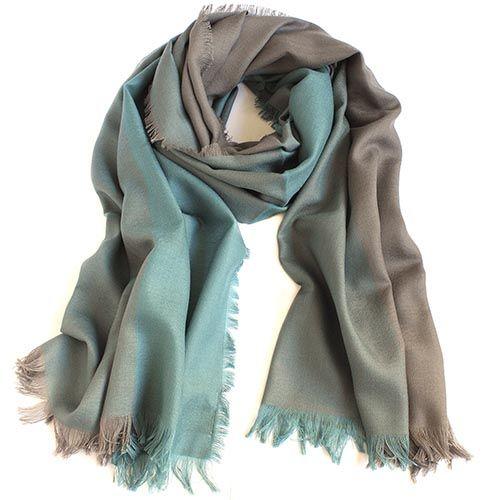 Шерстяной палантин Maalbi коричнево-голубой