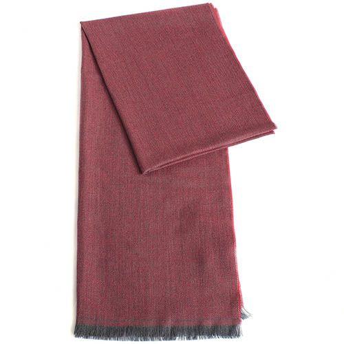 Палантин Maalbi из шерсти пепельно-розового цвета с серой окантовкой