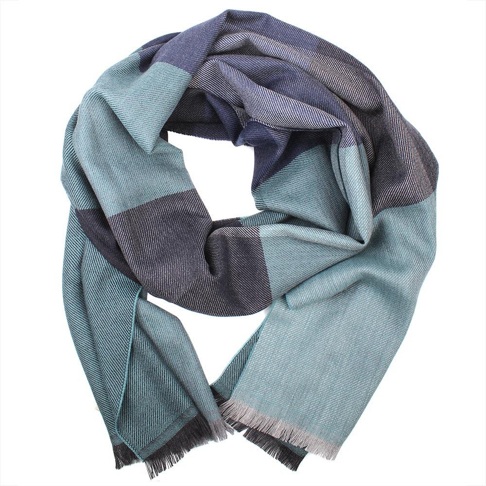 Шерстяной серый шарф Maalbi в синюю крупную клетку