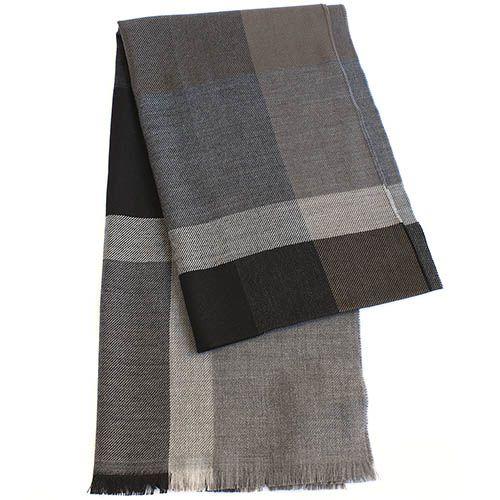Теплый палантин Maalbi с широкими полосами коричневых оттенков