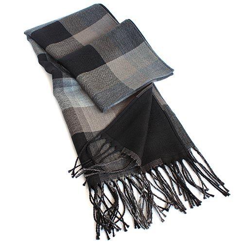 Двусторонний шарф Maalbi в коричневых тонах с длинной бахромой