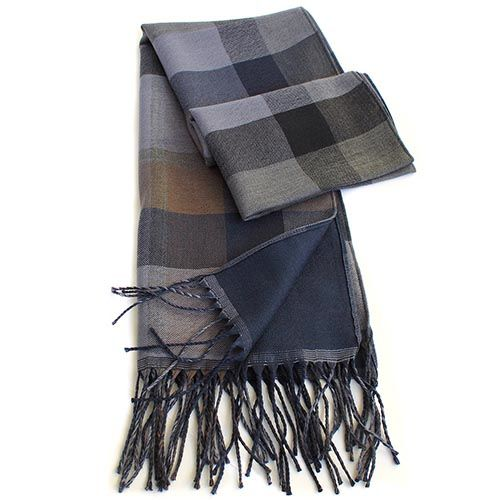 Теплый двусторонний шарф Maalbi в пастельных тонах с длинной бахромой