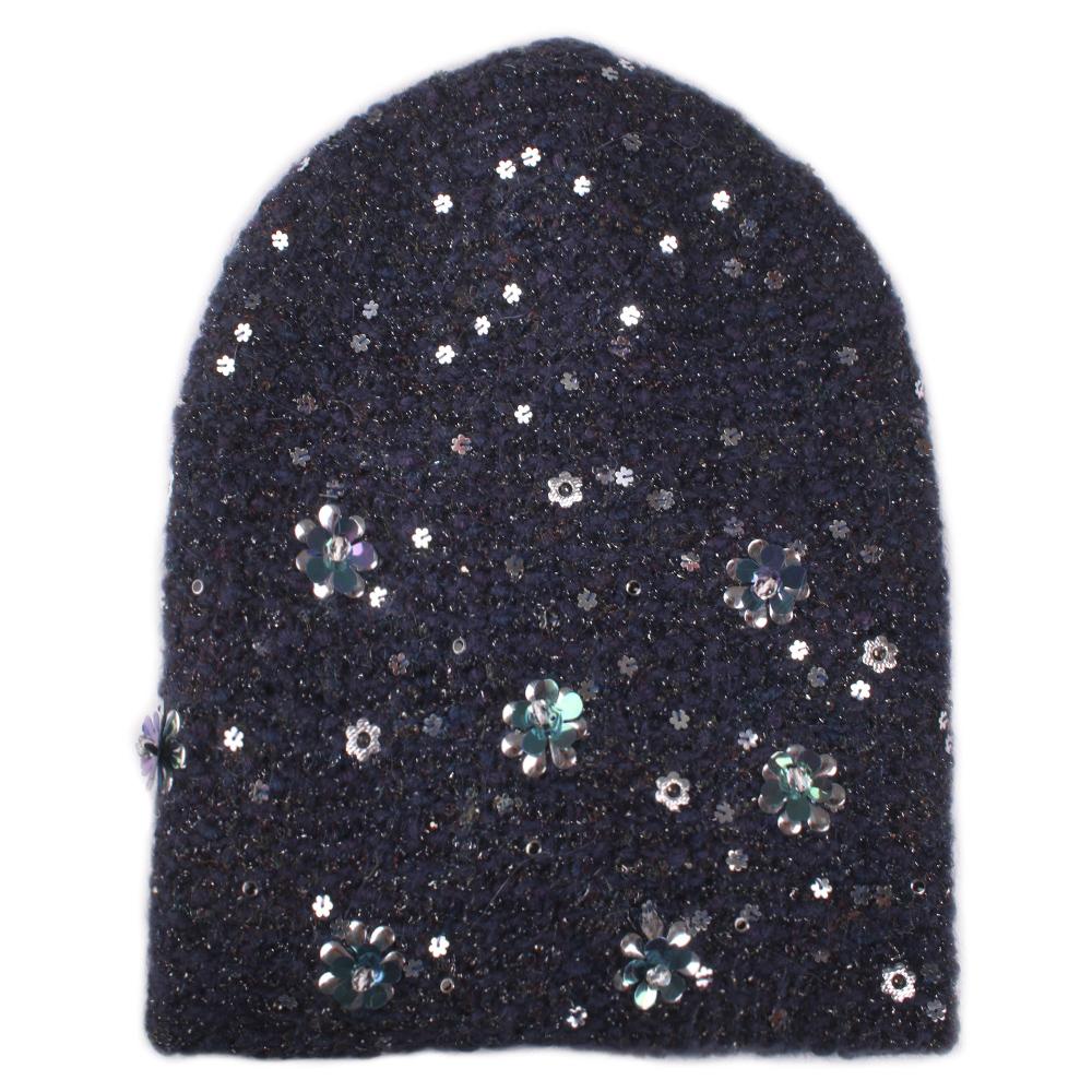 Синяя женская шапка Vizio Collezione с декором цветов