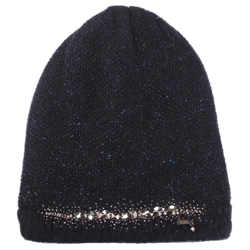 Синяя шапка Vizio Collezione с декором-стразы