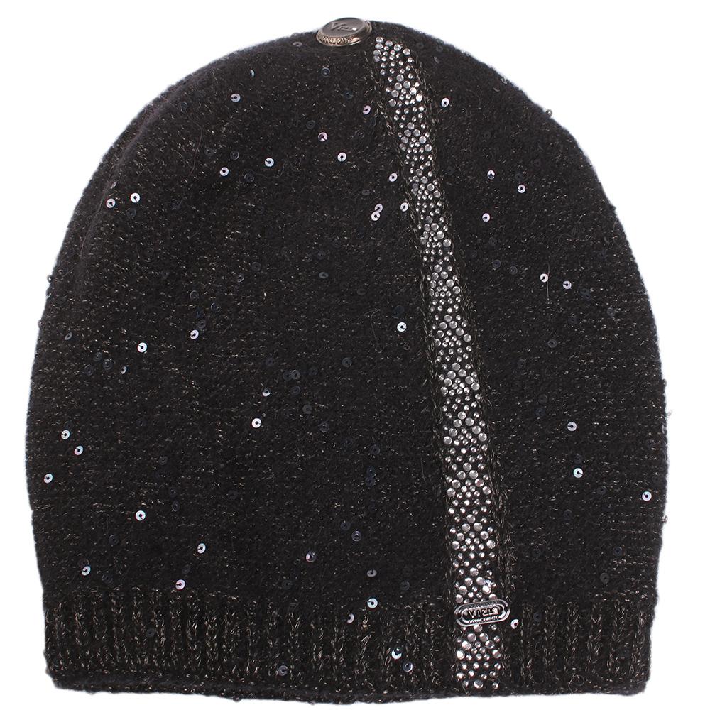 Черная шапка Vizio Collezione с декором-пайетками