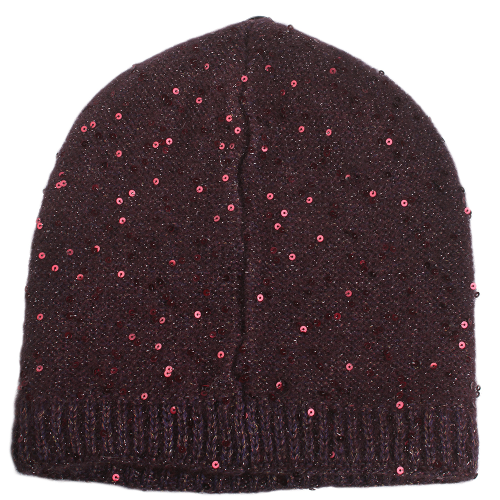 Бордовая женская шапка Vizio Collezione с пайетками